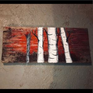 Hand painted barn board wall art